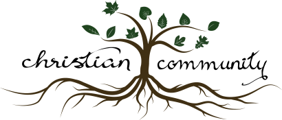 Drawing of a tree with different kinds of leaves. Text: Christian Community.