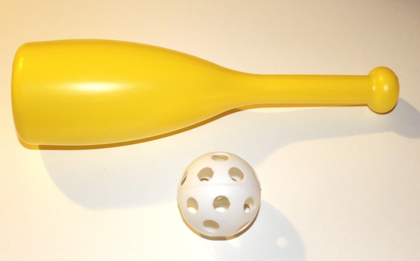 Wiffle ball bat and ball.
