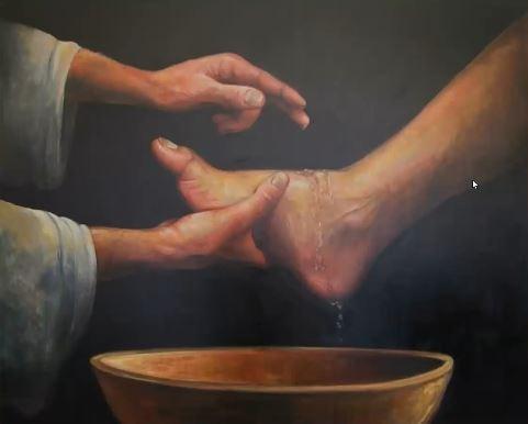Jesus washing feet.