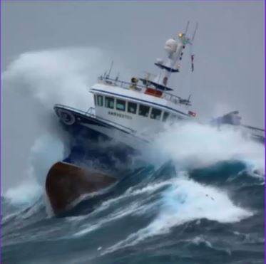 Ship in a storm with high waves.